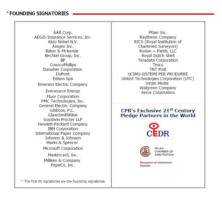 Первые 50 организаций, публично заявившие о том, что собираются применять медиацию при разрешении споров.